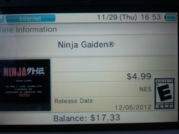 ninja gaiden virtual console nintendo 3ds